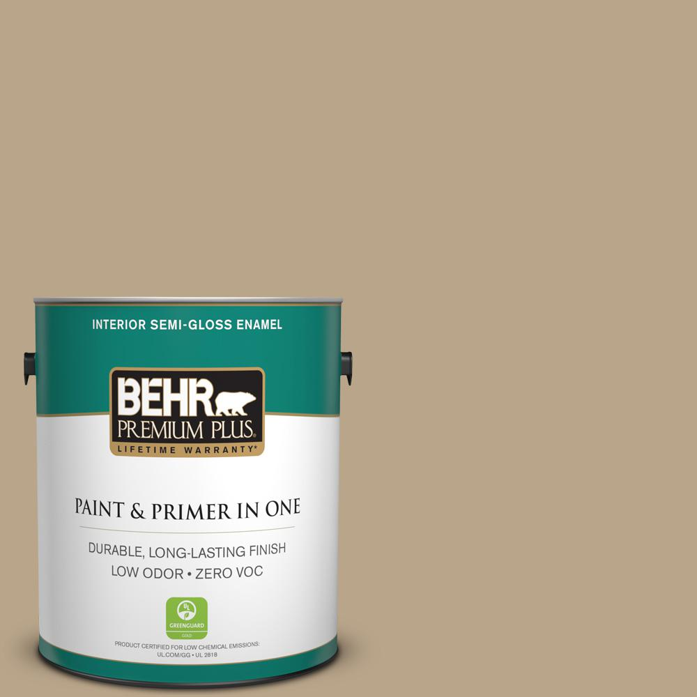 1-gal. #710D-4 Harvest Brown Zero VOC Semi-Gloss Enamel Interior Paint