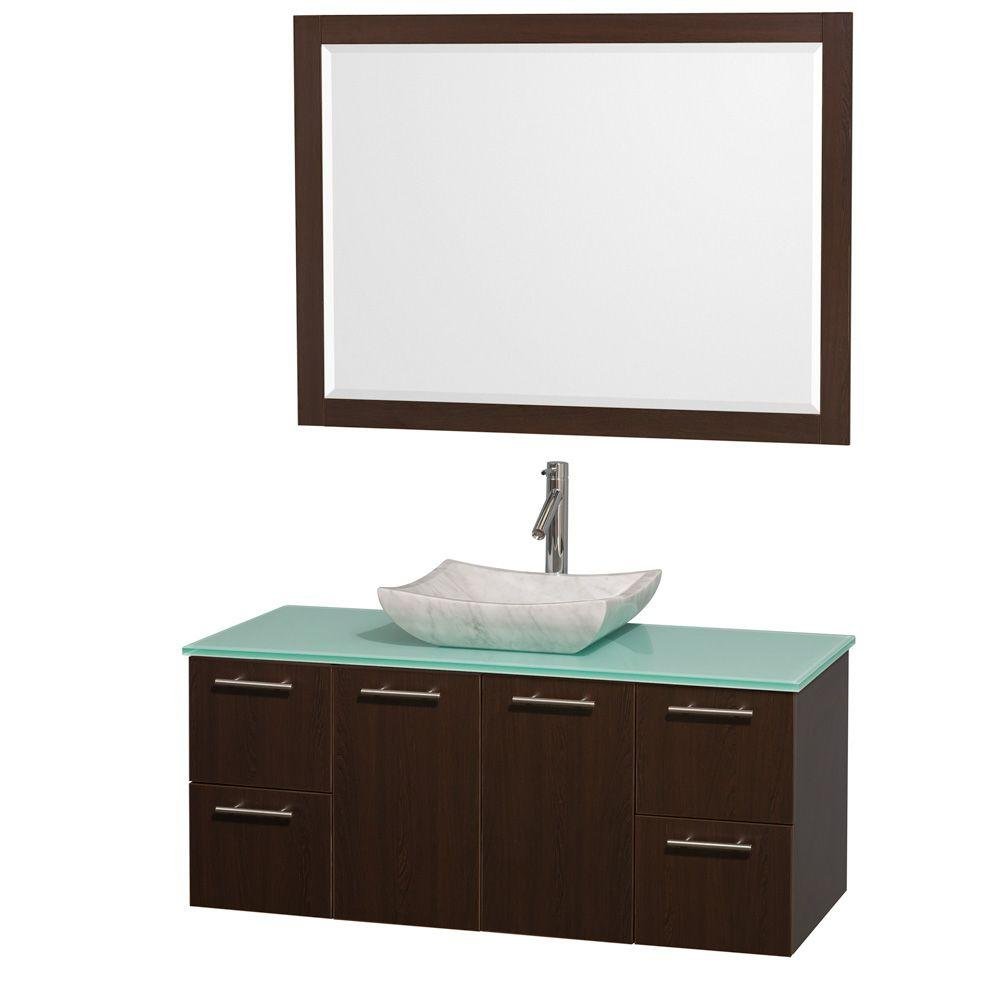 Wyndham Collection Amare 48 in. Vanity in Espresso with Glass Vanity Top in Aqua and Carrara Marble Sink