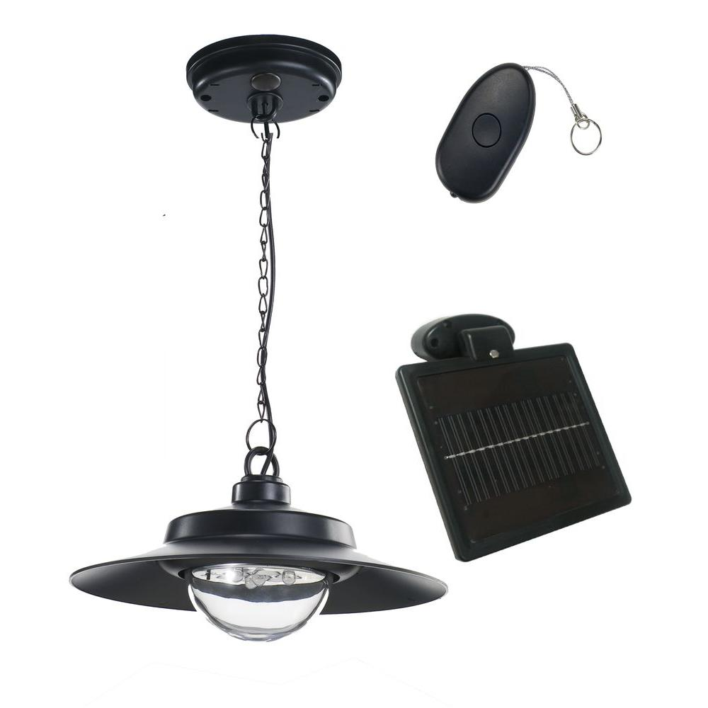 4-Light Black Indoor/Outdoor Solar-Powered LED Hanging Shed Light with Remote