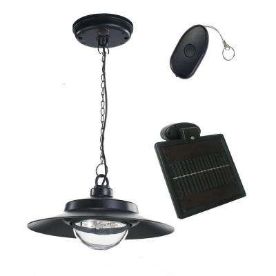 4-Light Black Indoor/Outdoor Solar-Powered LED Hanging Shed Light with Remote Control