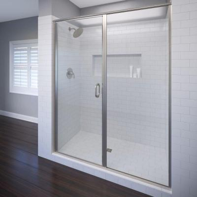 Basco Infinity 58 In X 76 1 8 In Semi Frameless Hinged Shower Door In Brushed Nickel With Aquaglidexp Clear Glass Infh35a5876xpbn The Home Depot
