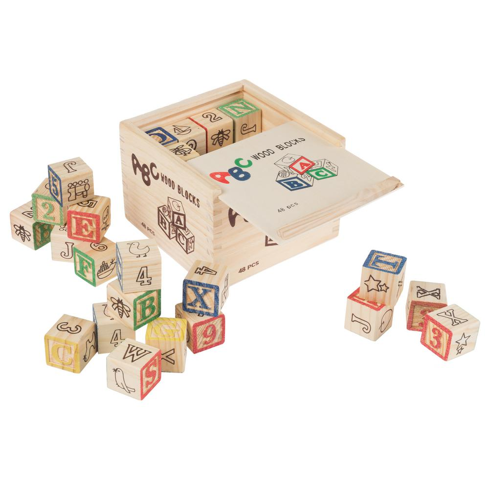 Hey Play Abc And 123 Wooden Block Learning Set