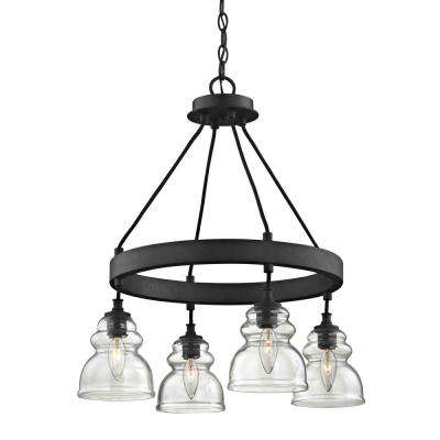 Muncie 4-Light Corsican Bronze Pendant with Clear Glass