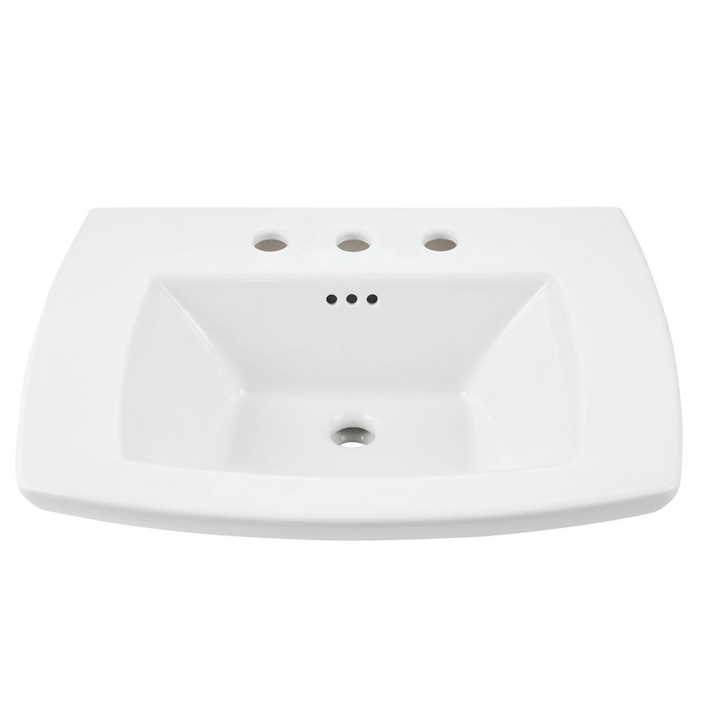 American Standard Edgemere 8 In Pedestal Sink Basin In White