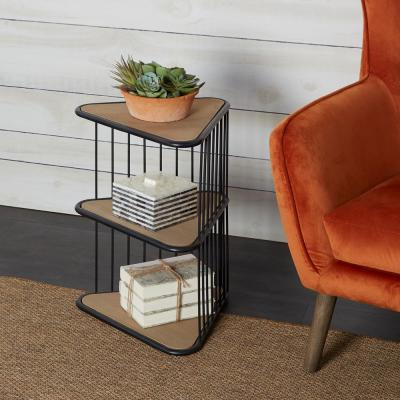 Wallace Triangle Black and Brown Side Table