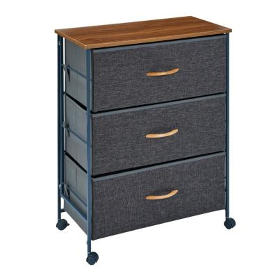 Ciana Gray 3-Drawer Storage Dresser with Casters