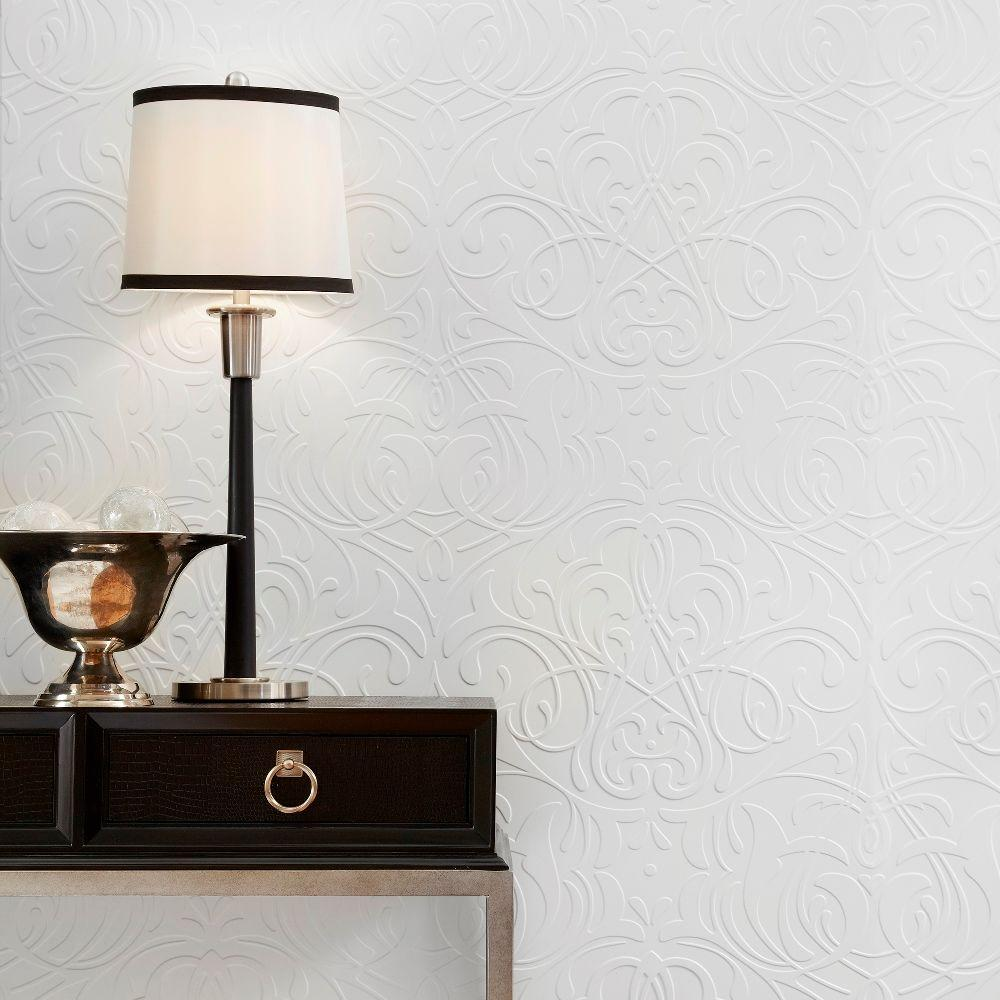 Damask 96 in. x 48 in. Decorative Wall Panel in Bisque