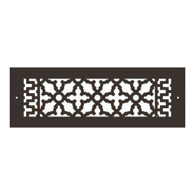 Scroll Series 14 in. x 4 in. Aluminum Grille, Oil Rubbed Bronze with Mounting Holes