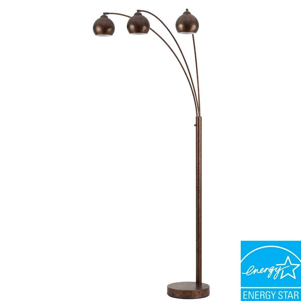 Arc 82 in. Rust Floor Lamp with Metal Shade