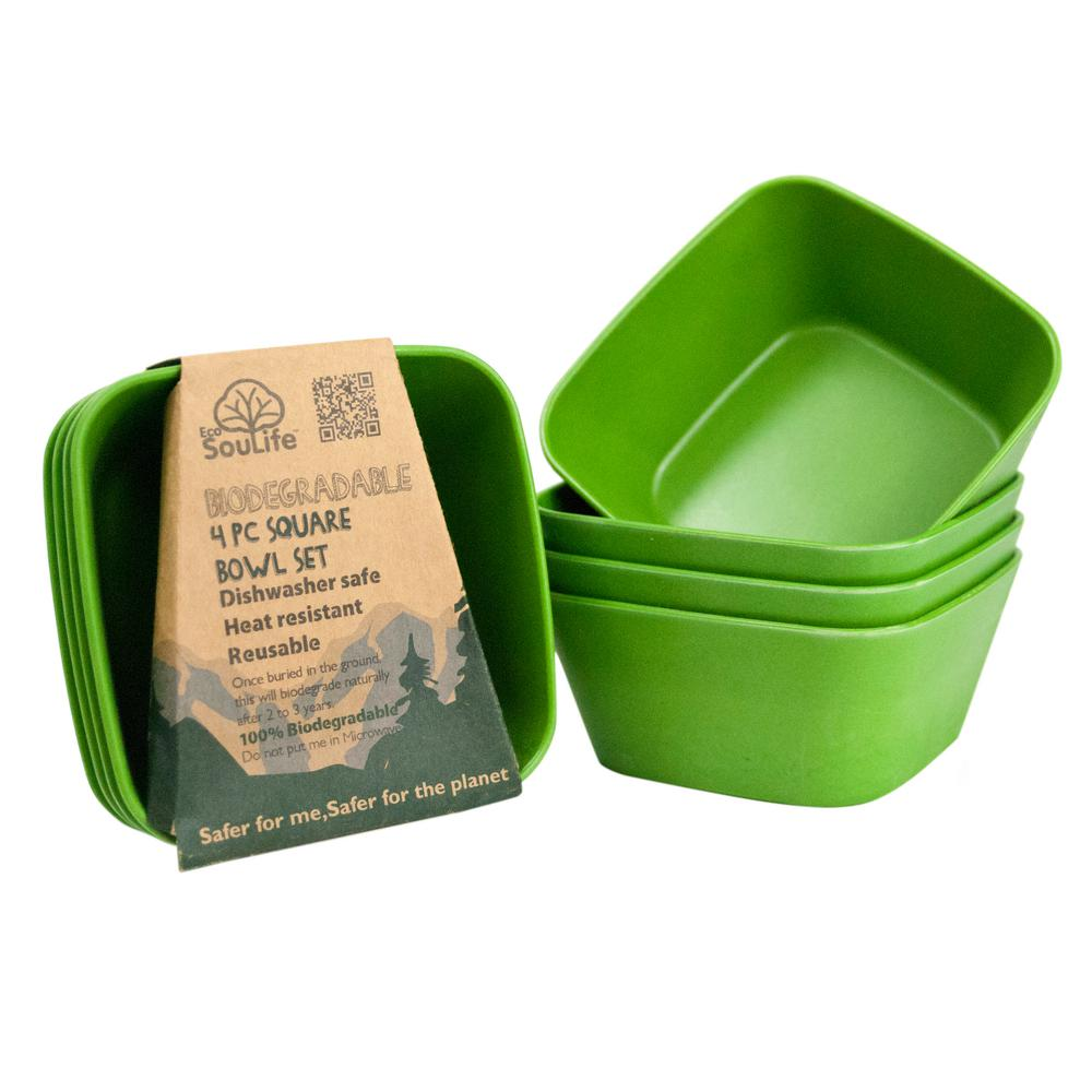 4- Piece 20 oz. Green Square Bowl Bamboo (2-Pack)