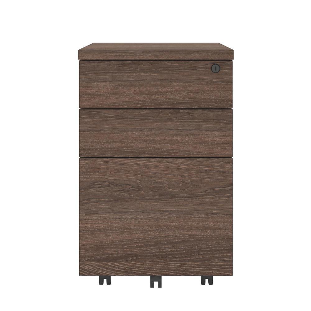 AX1 Medium Brown Mobile File Cabinet
