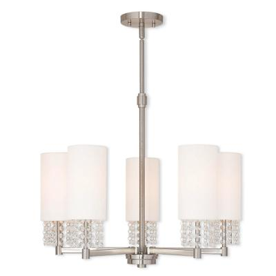Carlisle 5-Light Brushed Nickel Chandelier with Hand Crafted Off White Fabric Hardback Shade