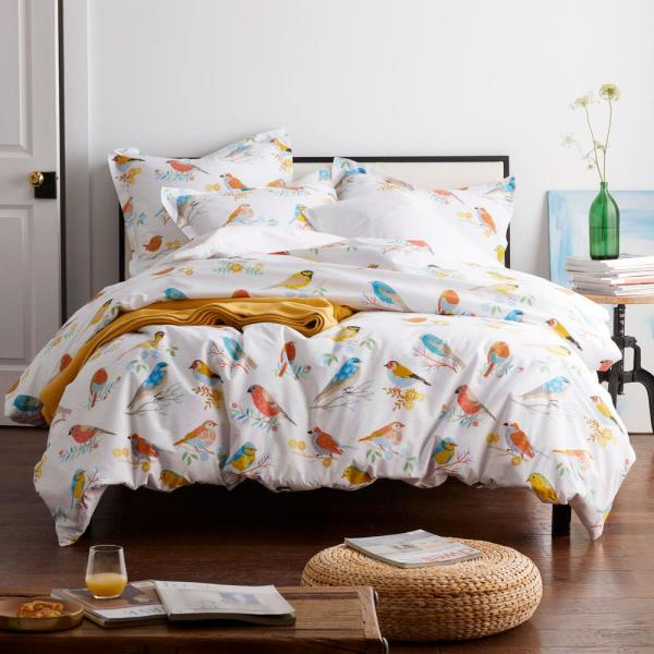The Company Store Sing Along Multicolored 200 Thread Count Cotton Percale Queen Flat Sheet 50556a Q Multi The Home Depot