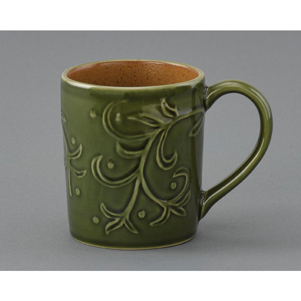 Verona 12 oz. Green Ceramic Coffee Mug (Set of 4)