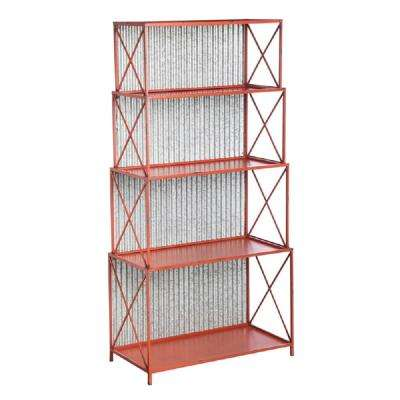 Red 5-Shelf Displayer with Distressed Metal Corrugated Back