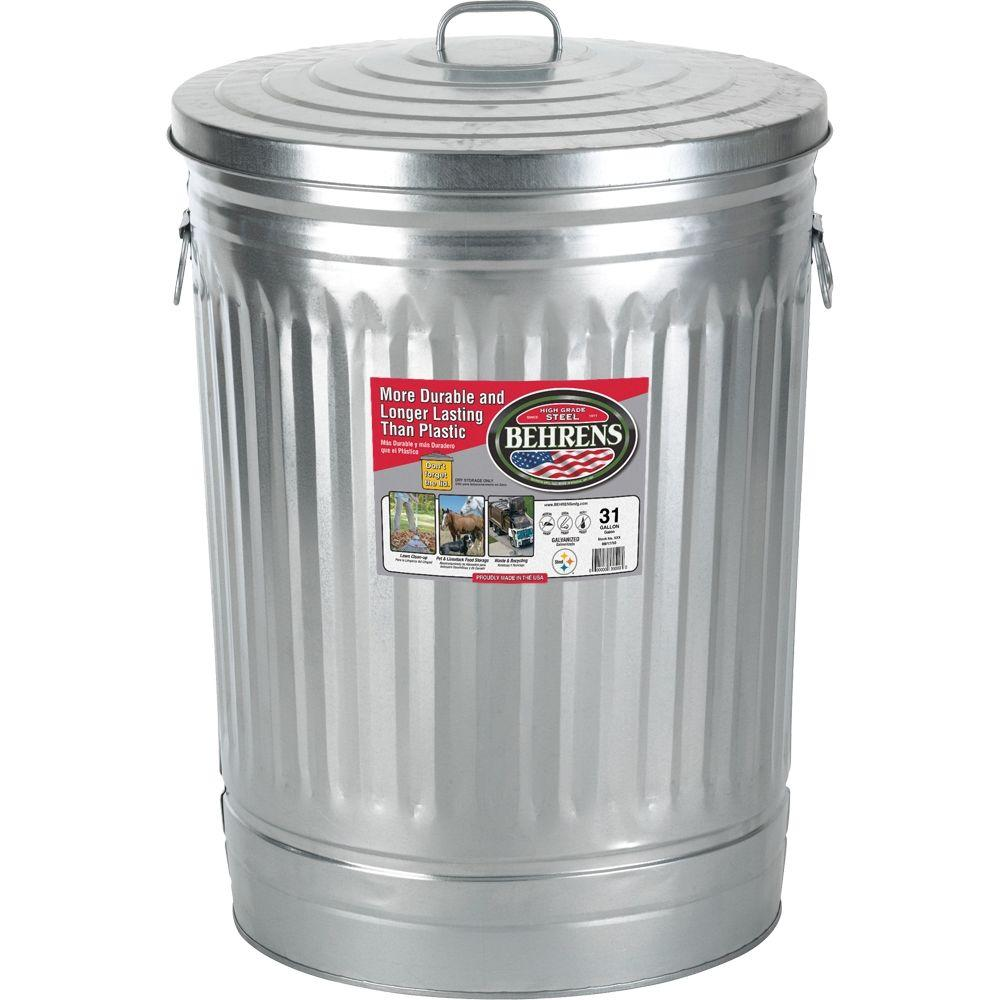 behrens 31 gal galvanized steel round trash can with lid 1270 the