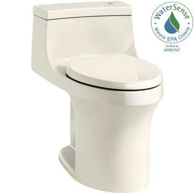 San Souci Touchless Comfort Height 1-piece 1.28 GPF Single Flush Elongated Toilet with AquaPiston Flush in Biscuit