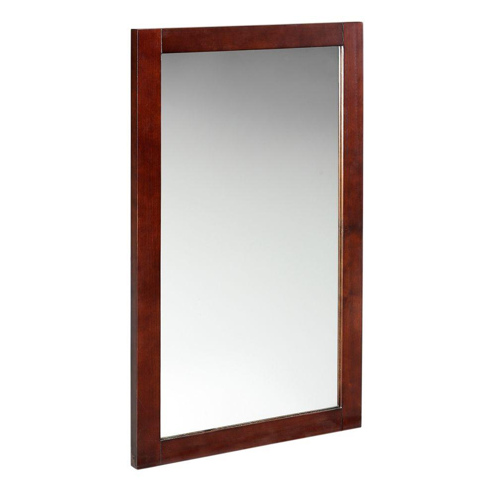 Home Decorators Collection Palmer 34 in. H x 20 in. W Mirror in Dark Cherry Frame