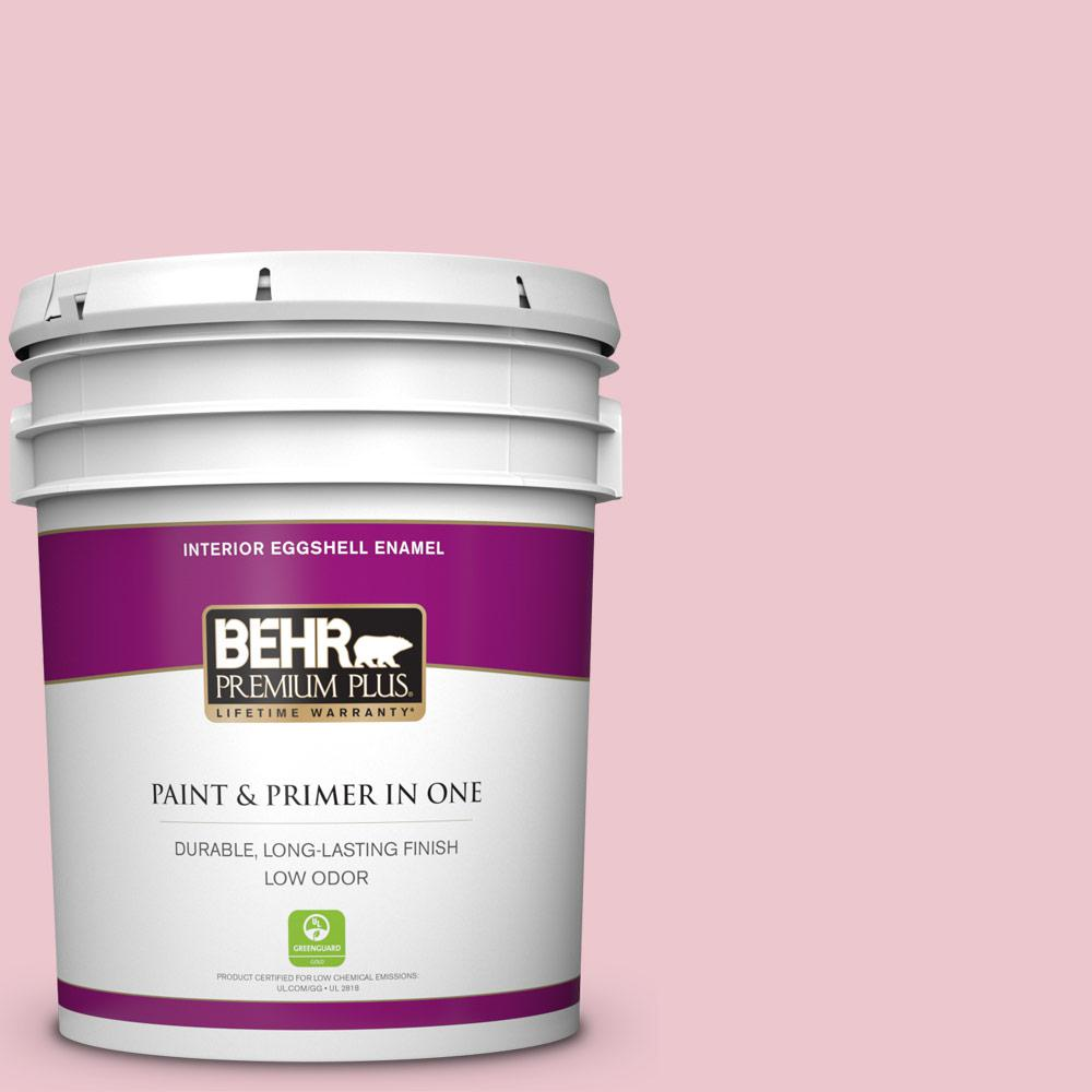 BEHR Premium Plus 5 gal. #M140-2 Funny Face Eggshell Enamel Low Odor Interior Paint and Primer in One For tough, all-purpose paint with a touch of style, choose BEHR PREMIUM PLUS Low Odor, Paint & Primer in One Eggshell Enamel Interior paint. This soft, subtle sheen resists dirt and grime, so it's perfect for all of your home's busiest rooms. The soft, velvety, reflective appearance will also brighten up your hallways. Color: Funny Face.