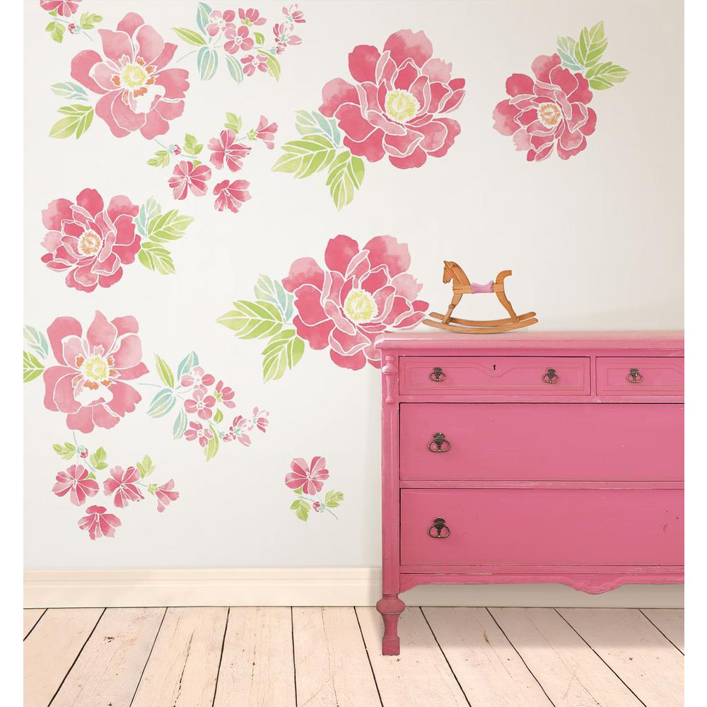 Wallpops Pink Sitting Pretty Flowers Wall Art Kit, Reds/P...