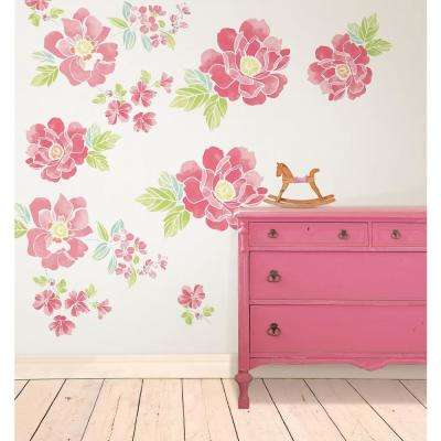 Pink Sitting Pretty Flowers Wall Art Kit