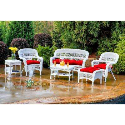 Portside White 6-Piece Wicker Patio Seating Set with Lipstick Fresco Cushions