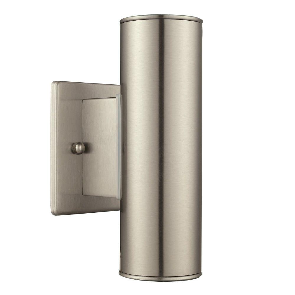 Riga 2-Light Stainless Steel Outdoor Integrated LED Wall Mount Cylinder