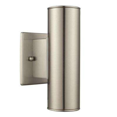 Outdoor wall mounted lighting outdoor lighting the home depot riga 2 light stainless steel outdoor integrated led wall mount cylinder aloadofball Gallery