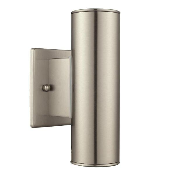 Riga 2-Light Stainless Steel Outdoor Integrated Wall Lantern Sconce Cylinder