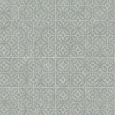 Blue and Gray Motif Residential Vinyl Sheet, Sold by 12 ft. Wide x Custom Length
