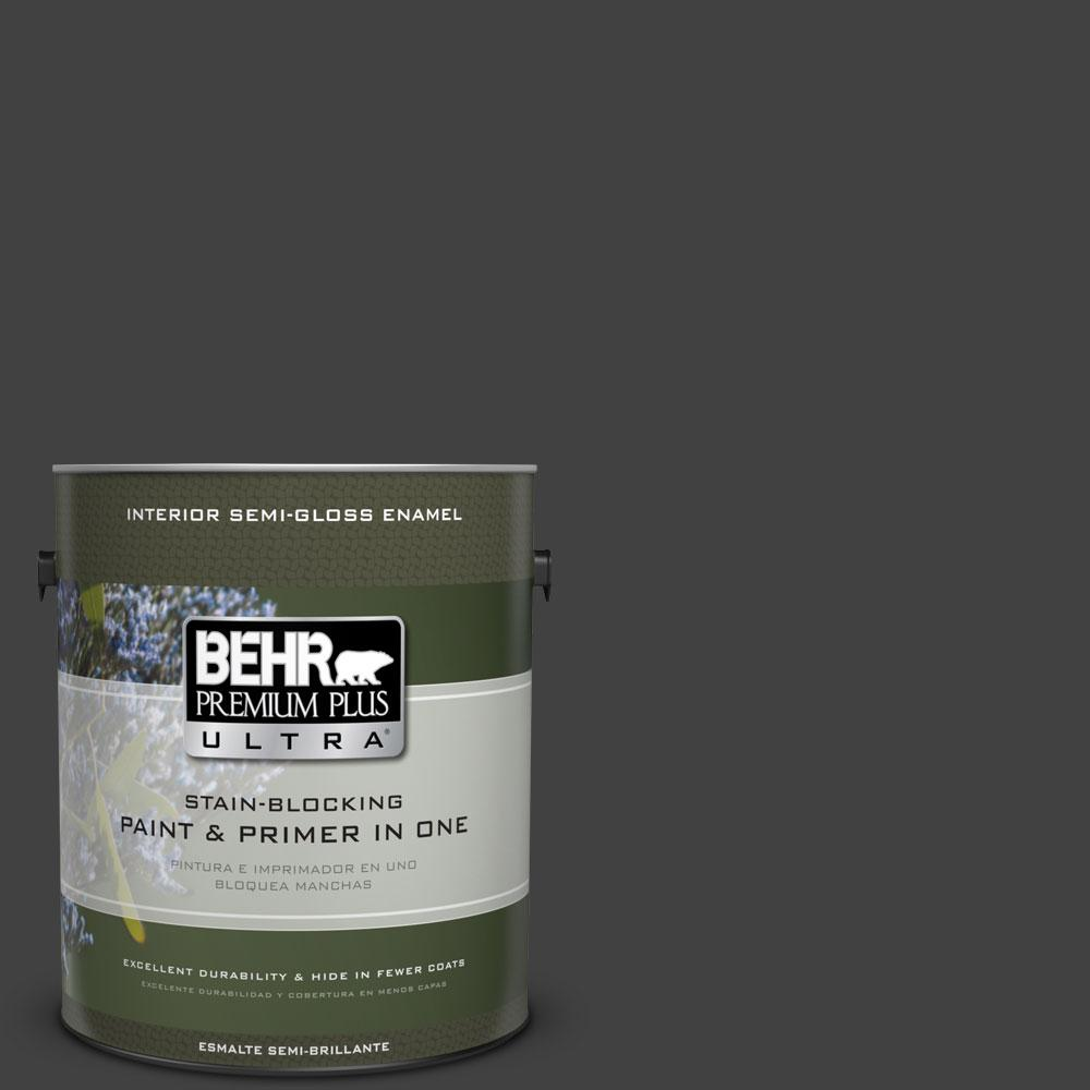 1-gal. #BNC-38 Spade Black Semi-Gloss Enamel Interior Paint