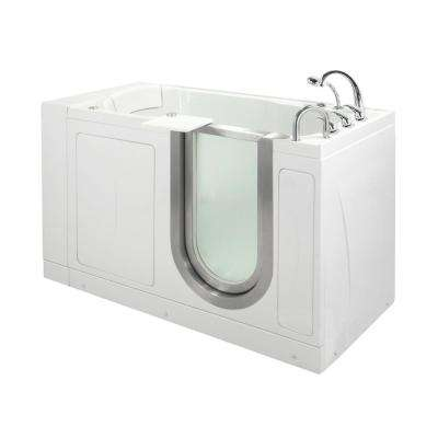 Petite 52 in. Acrylic Walk-In Air Bath and MicroBubble Bathtub in White, Fast Fill Faucet Set, RHS 2 in. Dual Drain