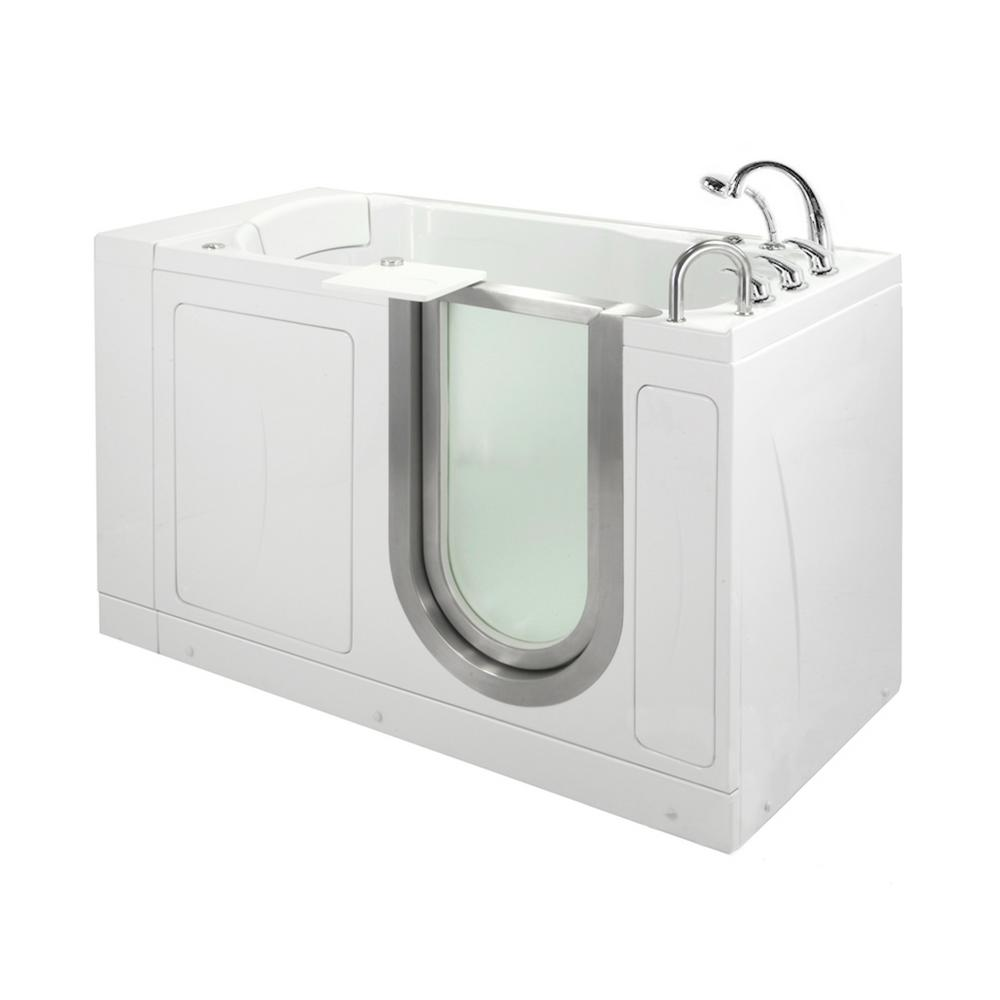 Ella Petite 52 in. Acrylic Walk-In Whirlpool Bathtub in White with Fast Fill Faucet Set, Heated Seat, RHS 2 in. Dual Drain
