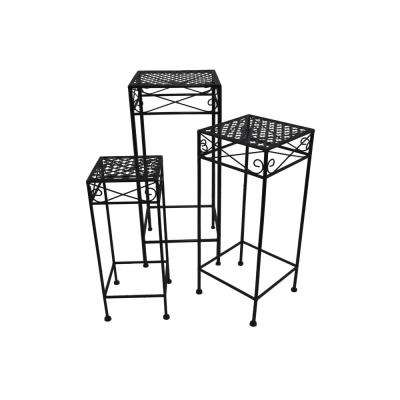 Matte Black Square Plant Stand (Set of 3)