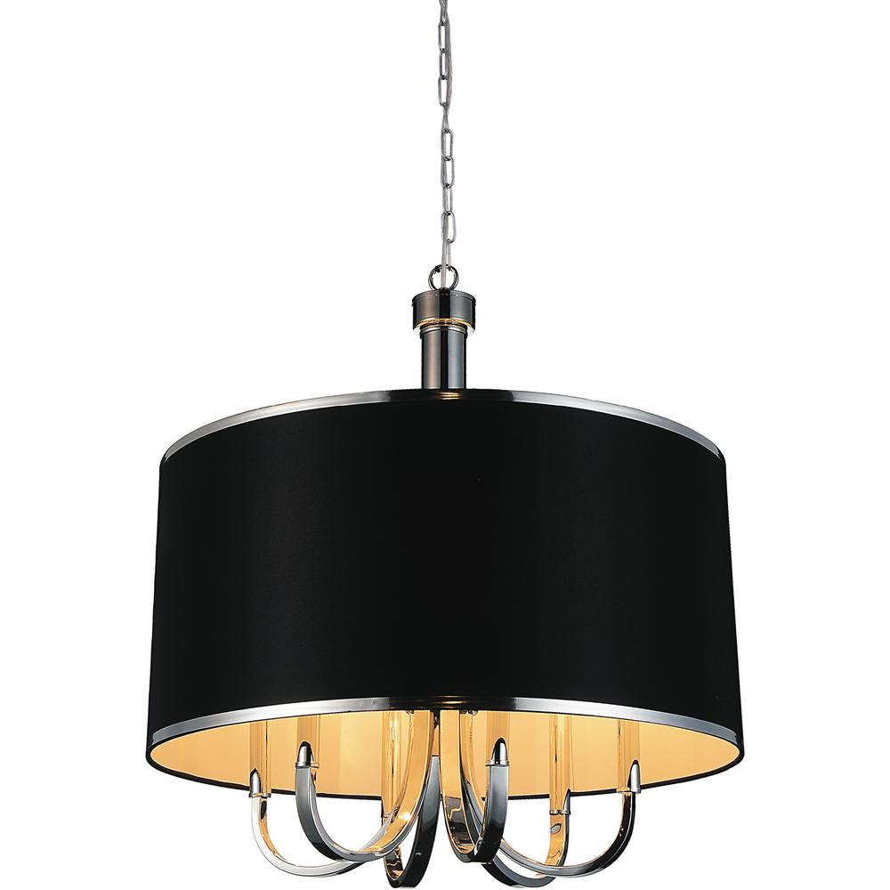 Cwi Lighting Orchid 6 Light Chrome Chandelier With Black Shade