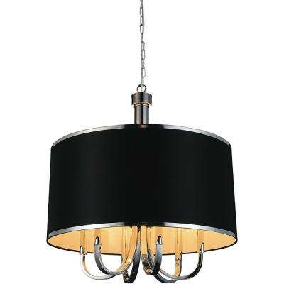 Orchid 6-Light Chrome Chandelier with Black shade