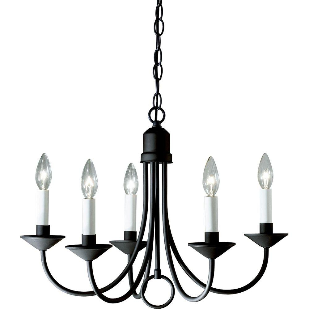 Progress lighting 21 in 5 light textured black chandelier