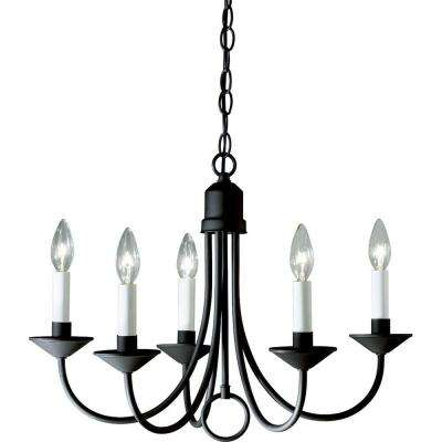 5-Light Textured Black Chandelier