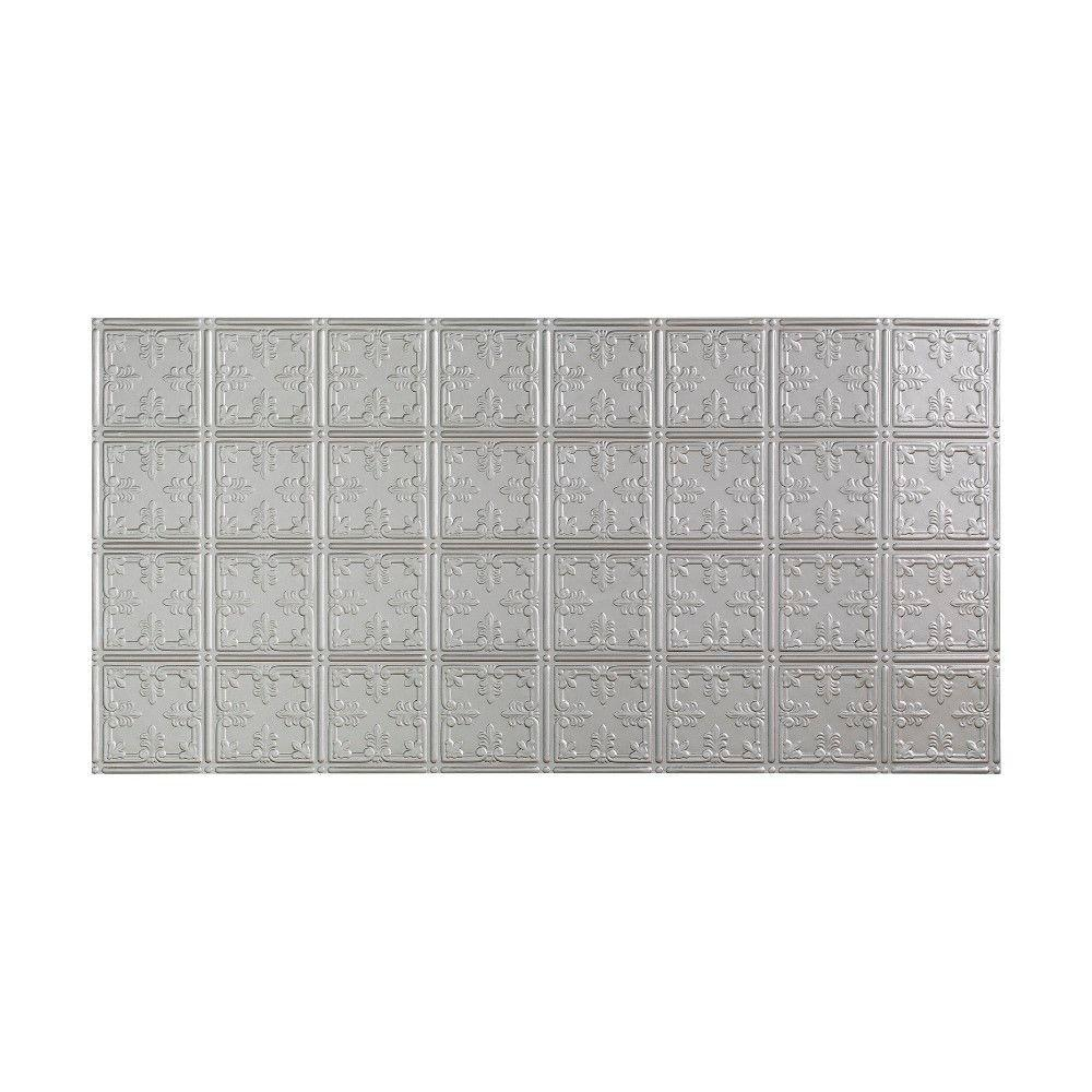 Fasade Traditional 10 - 2 ft. x 4 ft. Glue-up Ceiling Tile in Argent Silver