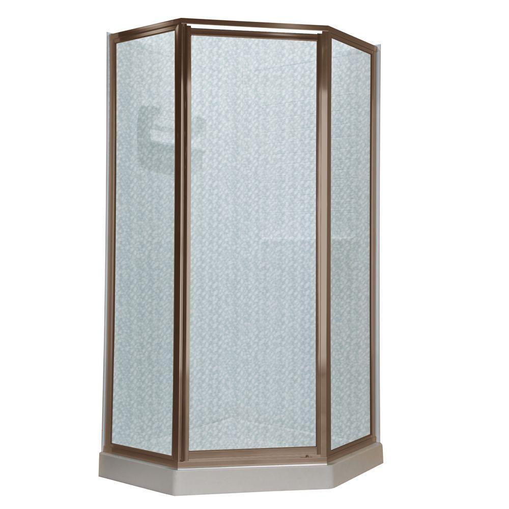 Prestige 24-1/4 in. x 68-1/2 in. Framed Neo-Angle Hinged Shower Door in Brushed-Nickel