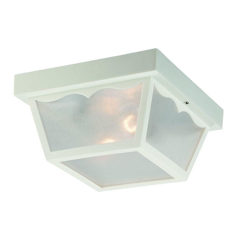 Durex Collection 2-Light White Outdoor Ceiling Mount Light Fixture