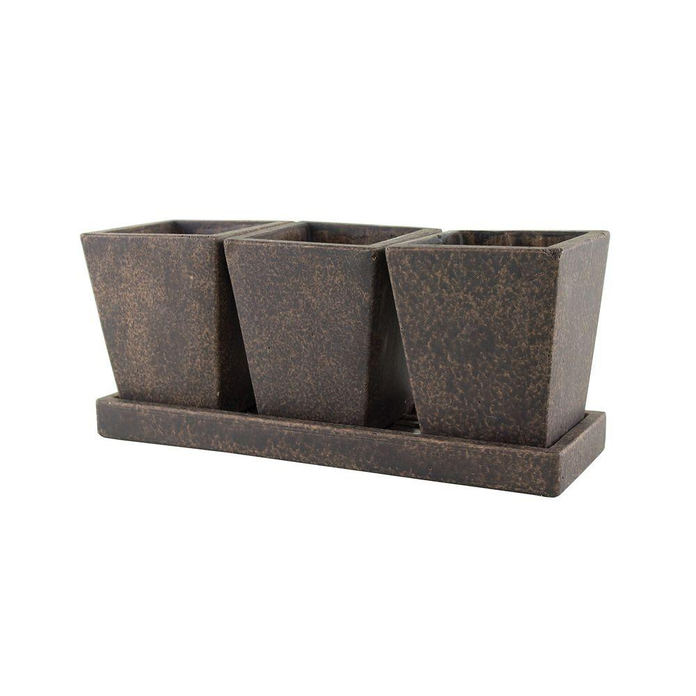 Syndicate Trio Garden Cement Planter With Tray