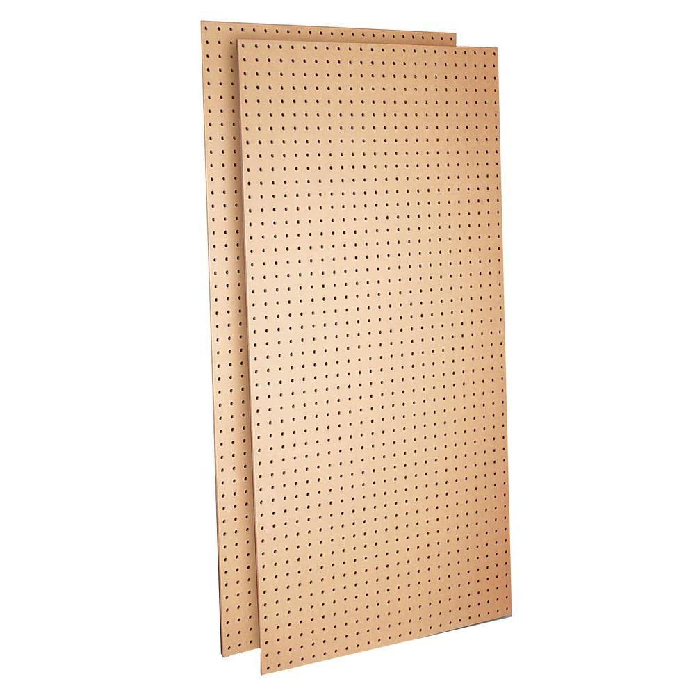 Triton Products Wood Pegboard (2) 24 in. W x 48 in. H x 1/4 in. D Heavy Duty Commercial Grade Tempered Round Hole Pegboards