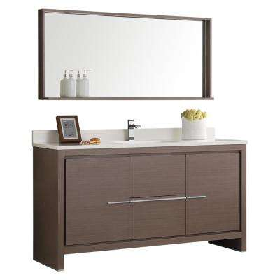 Allier 60 in. W Vanity in Gray Oak with Ceramic Vanity Top in White with White Basin and Mirror