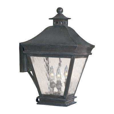 Landings 3-Light Wall Mount Outdoor Charcoal Sconce
