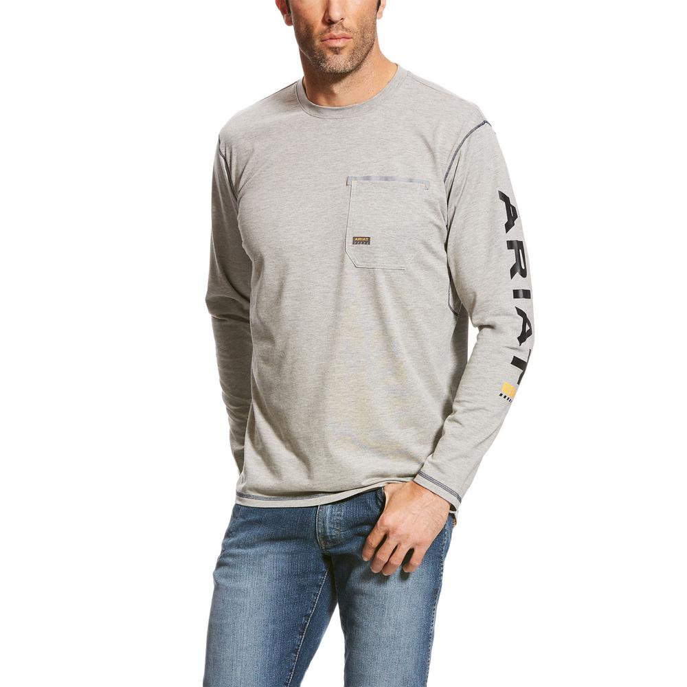 2afa0aeb61e5 Ariat Men's Size X-Large Tall Heather Gray Rebar Logo Long Sleeve Work T-