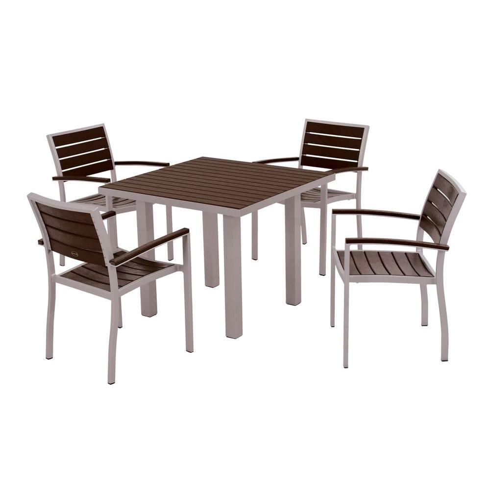 POLYWOOD Euro Textured Silver 5-Piece Patio Dining Set with Mahogany Slats