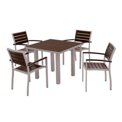Euro Textured Silver All-Weather Aluminum/Plastic Outdoor Dining Set in Mahogany Slats