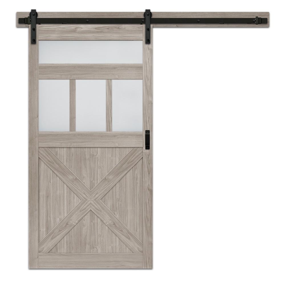 Silver Oak Mdf Frosted Gl 5 Lite Rustic Barn Door With Sliding Hardware Kit Bd063w01sv1sve42084 The Home Depot