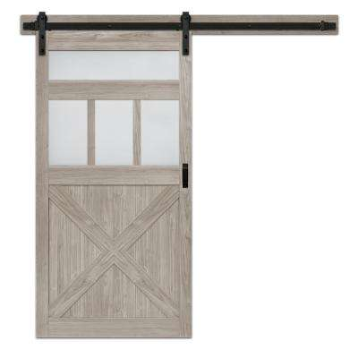 42 in. x 84 in. Silver Oak MDF Frosted Glass 5-Lite Rustic Barn Door with Sliding Door Hardware Kit